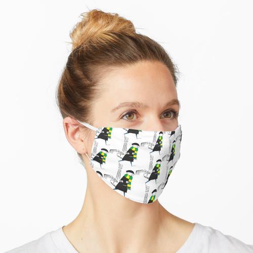 FCF: Flat Cap Fan - Grüner und gelber Schal Maske