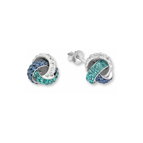 Ohrstecker für Damen, Sterling Silber 925, Kristallglas amor Blau