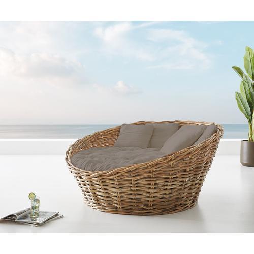 DELIFE Tagesbett Nilam 145x73 cm aus Rattan Natur Kissen braun Lounge, Gartenmöbel