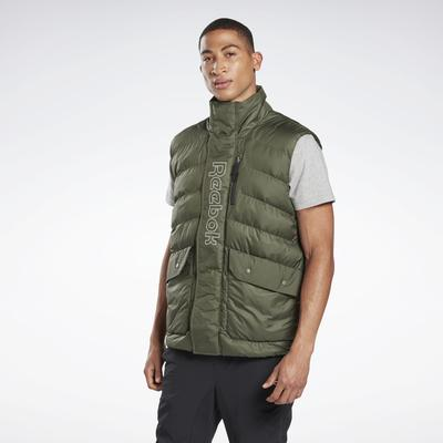 Reebok Men's Outerwear Puffa Vest in Poplar Green Size L - Training Apparel