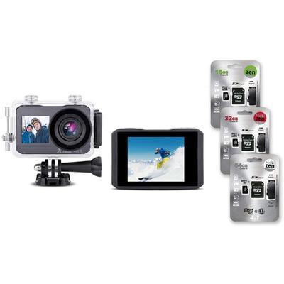 Caméra d action 4K : Avec accessoires + carte SD de 16 Go (52541)