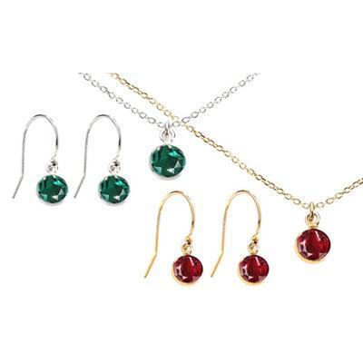 Parures en argent cristaux Swarovski® : Collier / Émeraude / Or