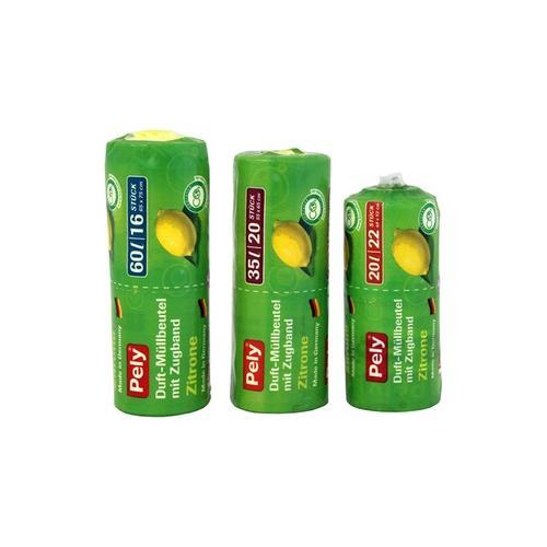200x Pely Clean Zugband-Beutel mit Zitronenduft 35 l