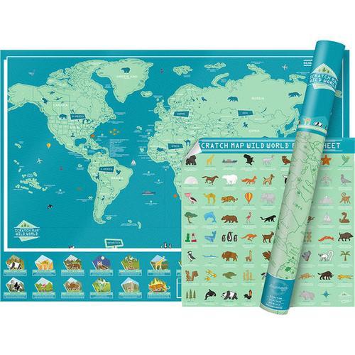 Rubbelkarte Welt, türkis