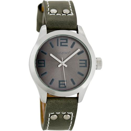Armbanduhr Oozoo mit Lederarmband, grau