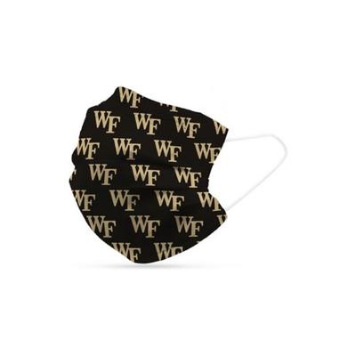Logo Black Adult NCAA Wake Forest Deacons Disposable Masks- 6 Pack