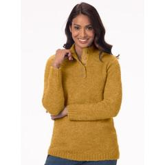 Women's Cuddle Boucle Pullover Sweater, Fields Of Gold Marled M Misses