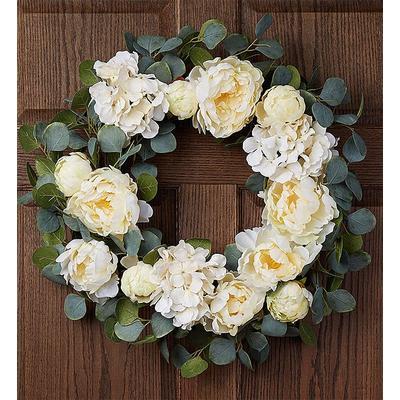 "Keepsake Serene White Hydrangea Wreath-24"" White Hydrangea Wreath by 1-800 Flowers"