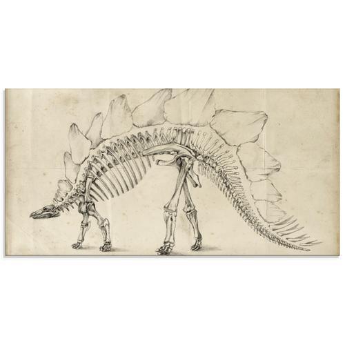 Artland Glasbild Dinosaurier Lehre III, Dinosaurier, (1 St.) beige Glasbilder Bilder Bilderrahmen Wohnaccessoires