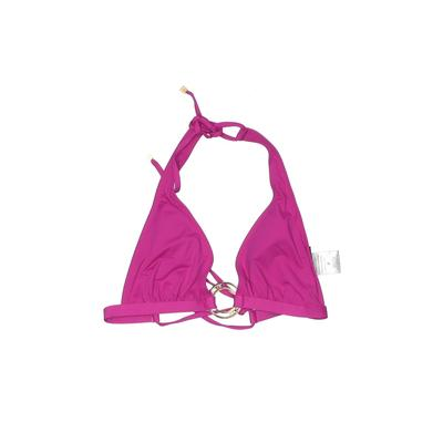 DKNY Swimsuit Top Pink Solid Halter Swimwear - Used - Size P