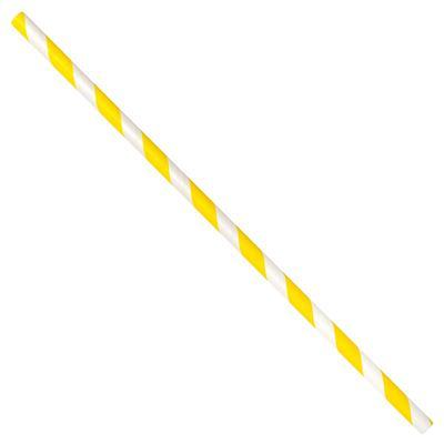 "LK Packaging GPSJ775UW-YE 7 3/4"" Unwrapped Jumbo Paper Straw, Yellow/White Striped"