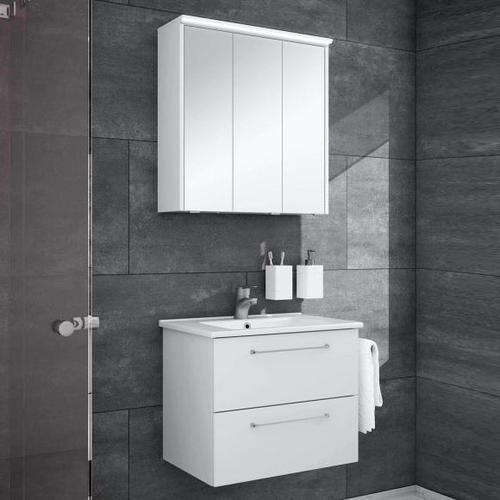 Artiqua 890 Block Waschtisch mit Waschtischunterschrank und LED-Spiegelschrank B: 65 cm Front: weiß glanz/verspiegelt, Korpus: weiß glanz 890.11096502, EEK: A+