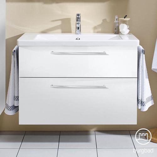 Burgbad Eqio Waschtisch mit Waschtischunterschrank B: 93 H: 64,5 T: 49 cm, mit 2 Auszügen Front weiß hochglanz / Korpus weiß glanz, Stangengriff chrom SEYQ093F2009C0001P95