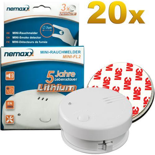 20x Mini-FL2 Rauchmelder - hochwertiger & diskreter Mini Brandmelder Feuermelder Rauchwarnmelder