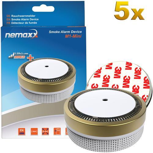 5x Nemaxx M1-Mini Rauchmelder goldfarben - fotoelektrischer Rauchwarnmelder nach neuestem VdS