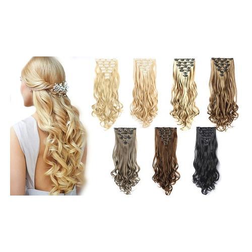 7er-Set Clip-in-Haarverlängerung: Braun