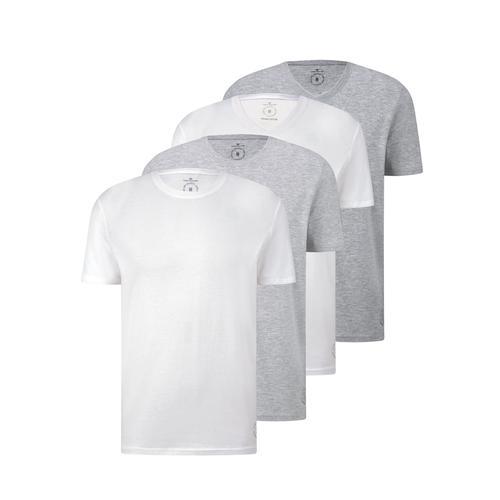 TOM TAILOR Herren Basic T-Shirt im Viererpack, weiß, Gr.XL