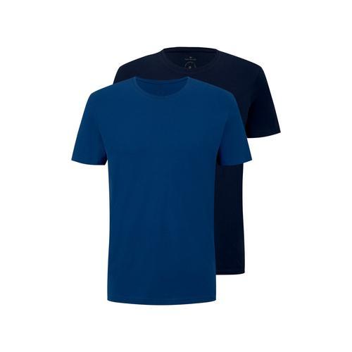 TOM TAILOR Herren Basic T-Shirt im Viererpack, blau, Gr.XL