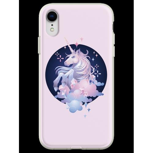 Pastellrosa und blaues magisches Kristalleinhorn Flexible Hülle für iPhone XR