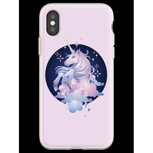 Pastellrosa und blaues magisches Kristalleinhorn Flexible Hülle für iPhone XS