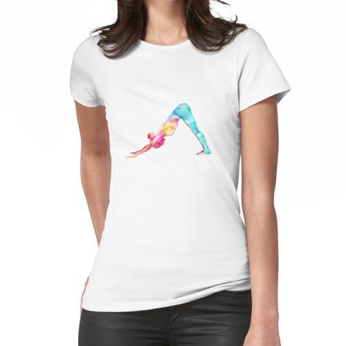 Abwärtsgerichteter Hund in den Aquarellen Frauen T-Shirt