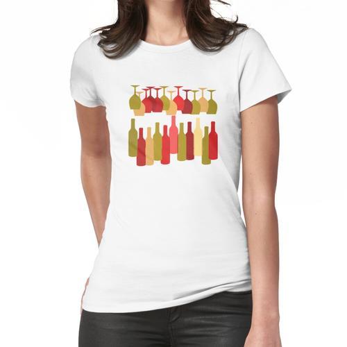 Flaschen und Weingläser Frauen T-Shirt