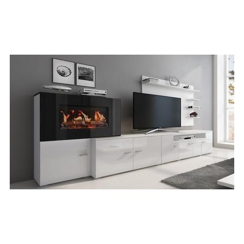 Wohnmöbel mit elektrischem Kamin mit 5 Flammenstufen: Matt-Weiß und Glanz-Weiß