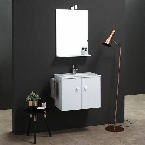 60 Cm Badezimmerschrank Mit Waschbecken Und Spiegel Quadratische Linie