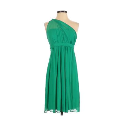 David's Bridal Cocktail Dress - Party: Green Solid Dresses - Used - Size 2