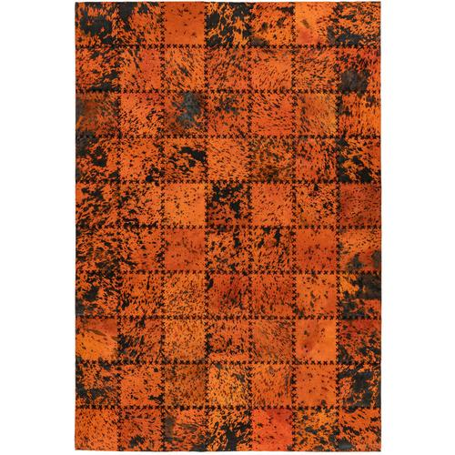 One Couture - Leder Patchwork Teppich Fell Teppiche Lederteppich Stitches Orange 120cm x 170cm