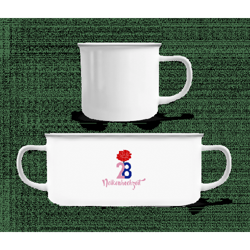 28 Jahre Nelkenhochzeit - Emaille-Tasse