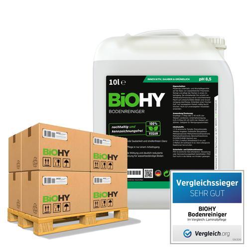 BiOHY Bodenreiniger (50x10l Kanister) | Konzentrat für alle Reinigungsgeräte und alle Hartböden | Angenehmer Geruch und streifenfreie Reinigung
