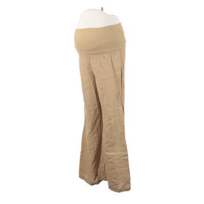 Bella Dahl Linen Pants - High Rise: Tan Bottoms - Size Large Maternity