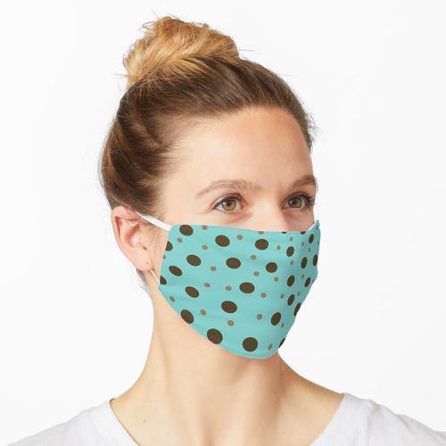 Hellblau mit braunen und hellbraunen Tupfen Maske