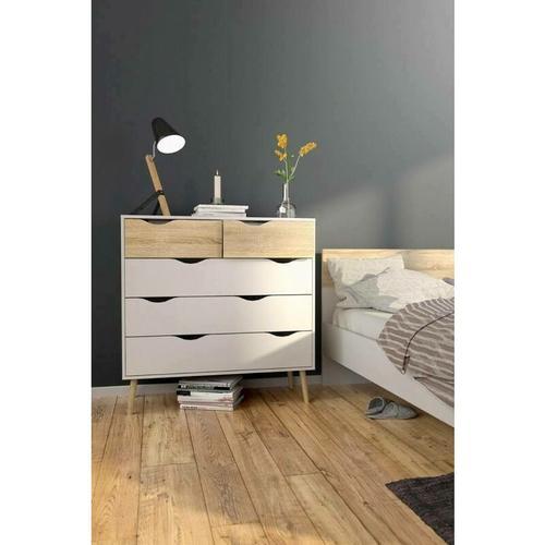Dmora - Kommode 98,7x100,9x39,1, Holzkonstruktion, Weiß