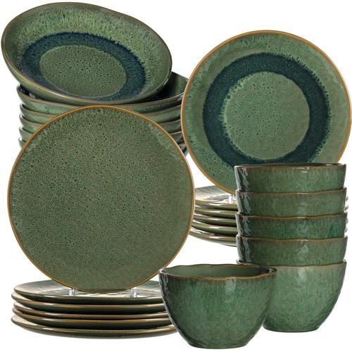 LEONARDO Kombiservice Matera, (Set, 24 tlg.), rustikale Optik grün Geschirr-Sets Geschirr, Porzellan Tischaccessoires Haushaltswaren