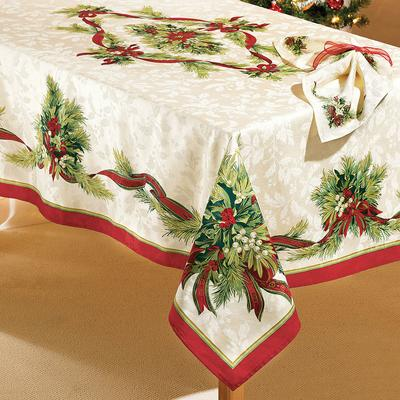 """Christmas Ribbons Tablecloth 60"""" x 84"""" by BrylaneHome in Christmas Ribbon"""