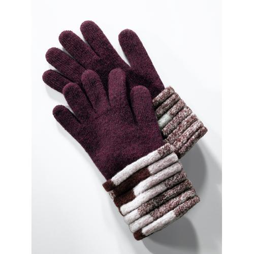 Wegener Damen Wollhandschuhe Stäbchenmuster Lila