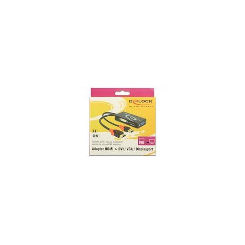Delock Adapter HDMI -> DVI24+5/VGA/Displayport 4K schwarz Digital/Display/Video DisplayPort DVI