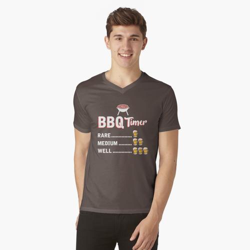 BBQ-Timer-Grill-Hemd Lustiges Grill-Grillen-Geschenk t-shirt:vneck