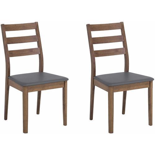 Beliani - Praktisches Stuhl-Set 2er Set Grau/Braun Gummibaumholz