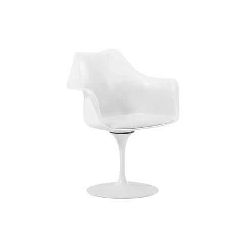 Tulip Armstuhl - Stoff - Weiß Schale Weiß