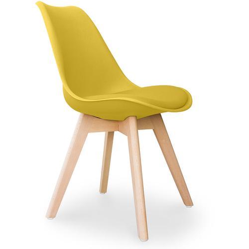 Premium Deswick Stuhl mit Kissen Skandinavisches design Gelb