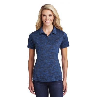 Sport-Tek LST590 Women's PosiCharge Electric Heather Polo Shirt in Dark Royal-Black size 2XL   Polyester