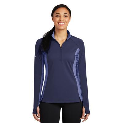 Sport-Tek LST854 Women's Sport-Wick Stretch Contrast 1/2-Zip Pullover T-Shirt in True Navy Blue/True Blue Heather size 3XL