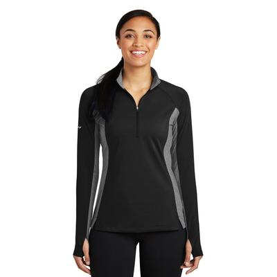 Sport-Tek LST854 Women's Sport-Wick Stretch Contrast 1/2-Zip Pullover T-Shirt in Black/Charcoal Grey Heather size Small | Polyester/Spandex Blend