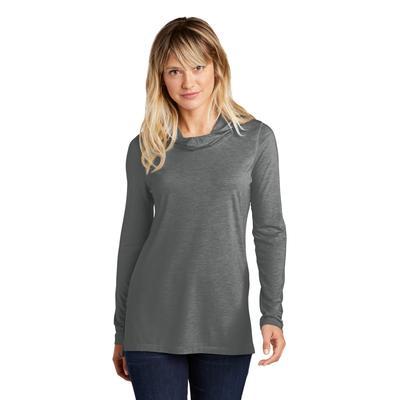 Sport-Tek LST406 Women's PosiCharge Tri-Blend Wicking Long Sleeve Hoodie in Dark Grey Heather size Large | Triblend