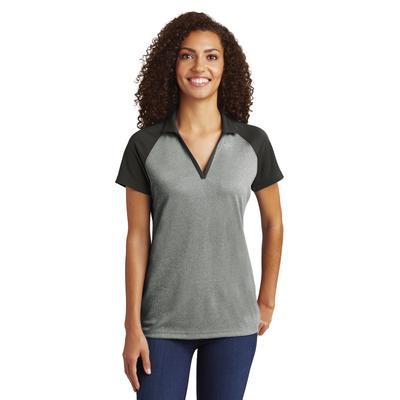 Sport-Tek LST641 Women's PosiCharge RacerMesh Raglan Heather Block Polo Shirt in Grey Heather/Black size 3XL   Polyester