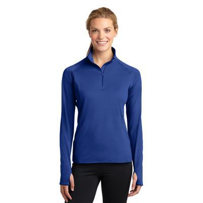Sport-Tek LST850 Women's Sport-Wick Stretch 1/2-Zip Pullover T-Shirt in True Royal Blue size Small | Polyester/Spandex Blend