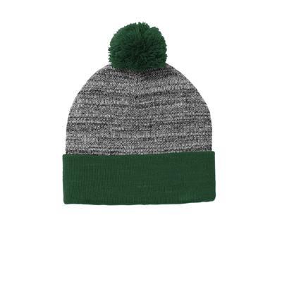 Sport-Tek STC41 Heather Pom Beanie Hat in Forest Green/Grey size OSFA   Acrylic Blend